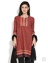 Biba Passion For Fashion Petal Printed Kurta -Orange-L