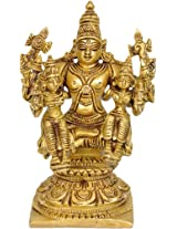 Exotic India Lord Vishnu with Lakshmi and Bhudevi - Brass Statue