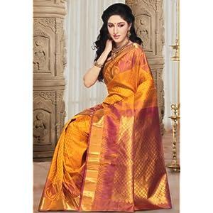 Golden Orange Pure Handloom Kanchipuram Silk Saree with Blouse