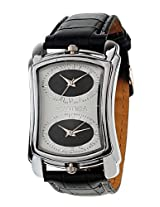 Exotica Black Leather Analog Men Watch EX 40 DUAL W