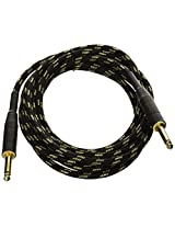 Monoprice 601410 10-Feet Cloth Series 1/4-Inch TS Male 20AWG Instrument Cable, Black and Gold