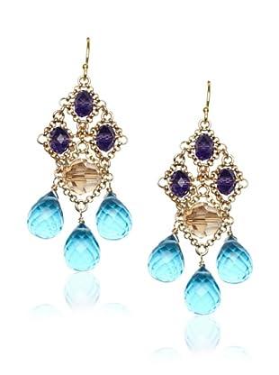 Diane Yang Chandelier Earrings, Blue