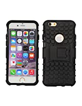 Cubix Defender Series Detachable Hybrid TPU + PC Kickstand Case Cover for Apple iPhone 6 (Black)