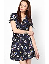 Blue Tie Sleeve Floral Print Wrap Dress New Look