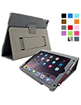 Snugg iPad Air 2 Case - Smart Cover with Kick Stand Lifetime Guarantee (Gray Leather) for Apple iPad Air 2 (2014)