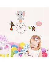 UberLyfe Cute Baby Elephant Wall Clock cum Wall Sticker
