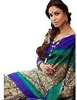 Brijraj Cream Green Blue Bhagalpuri Silk Beautiful Printed Saree With Unstitch Blouse