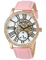 August Steiner Women's AS8035PK Crystal Skeleton Automatic Strap Watch