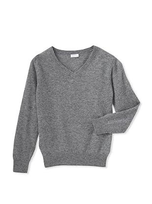 Il Gufo Girl's V-Neck Sweater (Grey)