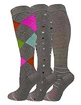 Ladies 3 Pair Pack Compression Socks (Assorted Grey)