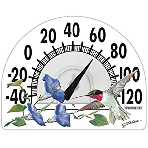 Springfield 911572 Window Cling Thermometer -Clings to Window without bracket or glue in Hummingbird Design