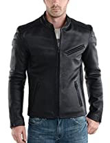 Iftekhar Men's Pure leather Jacket - Black - (Iftekhar03 - L)