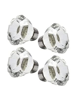 Modelli Creations Set of 4 Faceted Clear Glass Decorative Knobs