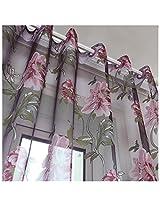 100x200cm Flowers Printed Sheer Window Curtain Tulle Door Room Window Screen
