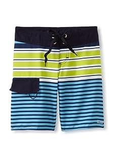 Azul Swimwear Boy's Stripe Block Boardshorts (Blue)
