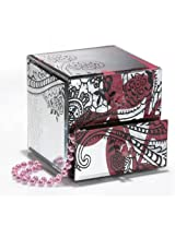 Accents by Jay Leaf Mirror Jewelry Box with 2 Drawers, Pink