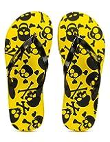 Freetoes Men Skull Yellow And Black Flip Flops (FTSKUYELLOW07) 7.5 UK