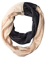Betsey Johnson Women's Color Block Foil Crinkle Loop Scarf, Black, One Size