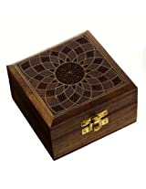 Wooden Jewellery Box for Women Floral Art Decor Inlay 4x4x2.25 Inches