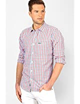 Checks Aqua Blue Slim Fit Casual Shirt