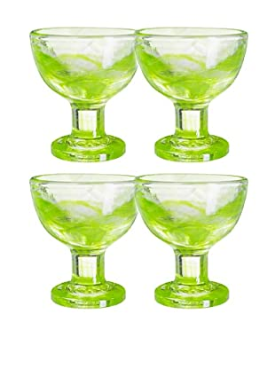 Orrefors Set of 4 Mine Coupes, Lime