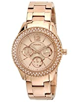 Fossil Stella Analog Rose Dial Women's Watch - ES3590I