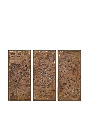 Set of 3 Wooden Wall Map Panels, Natural