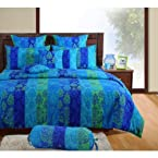 Swayam Signature Collection Single Bed Sheet With One Pillow Cover Dark Blue And Sky Blue