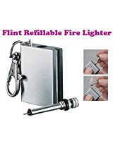Gadget Hero's Flint Refillable Fire Lighter & Key-chain Worlds Smallest & Thinnest Matches Box.