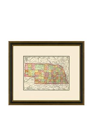 Antique Lithographic Map of Nebraska, 1886-1899