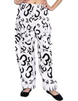 Exotic India Yoga Casual Trousers With Printed Om - Color Glacier WhiteGarment Size Free Size