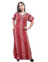 Indiatrendzs Women's Cotton Nighty Sexy Red Nightwear XL