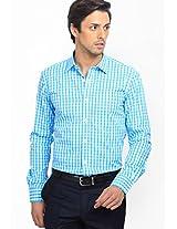 Checks Aqua Blue Formal Shirt