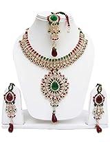 Lucky Jewellery Fabulous Maroon Green Alloy Chain Patwa set for Women (825-ISP-801-MG)