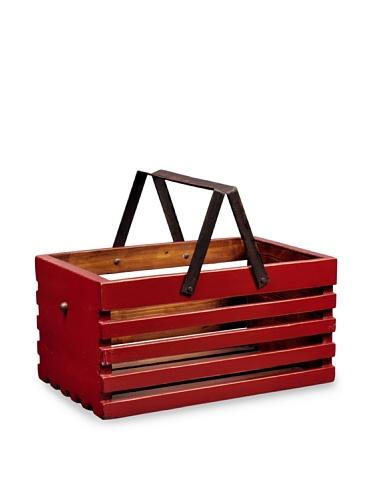 Antique Revival Slat Wood Storage Caddy (Red)