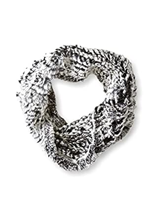 Jocelyn Women's Snowtop Sheared Rabbit Knitted  Cowl, Black/Ivory