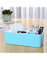House of Quirk Desktop Decorative Storage Box Compartments for Tissue Box Holder Pen Business Card Remote Control Mobile Phone Cosmetics Office Supplies Holder Collection Desk Organizer (Blue)