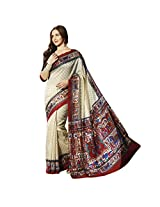 De Marca Off-White Silk Mina11952 Saree