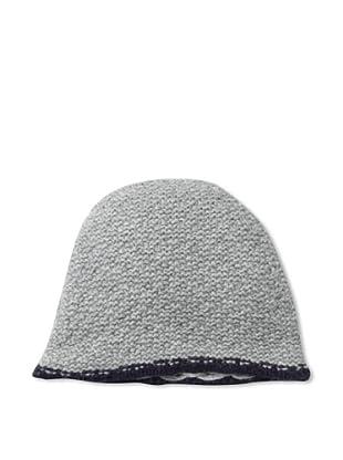 Sofia Cashmere Men's Seed Stitch Skull Cap (Medium Grey/Purple)