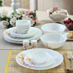 La Opala Autumn Flower White & Orange Dinner Set of Twenty Three