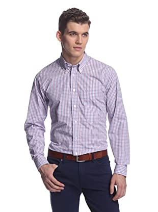 Oxxford Men's Sport Shirt with Button-Down Collar (Pink/Red/Navy Check)