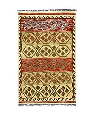 Eden Teppich Kilim-P rot/beige/grün 93 x 152 cm