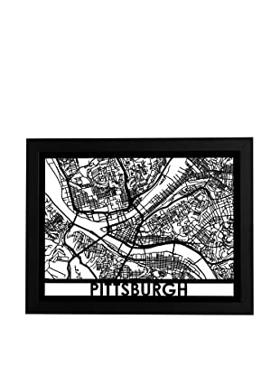 Cut Maps Pittsburgh Framed 3-D Street Map