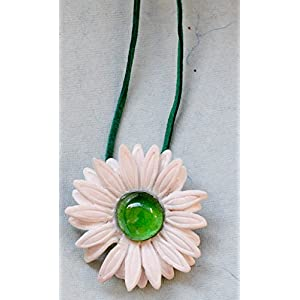 Saakar Polymer Clay Flower Green Necklace