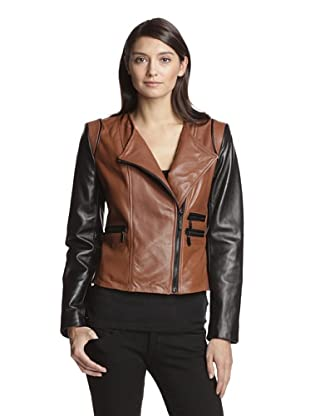Vince Camuto Women's Colorblock Leather Jacket (Cognac/Black)