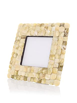 """Purva Mother of Pearl 3-Layer Scalloped Round Picture Frame, Brown, 4"""" Round"""