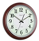 Opal Round Wooden Luminous Dial Clock (Dark Brown)