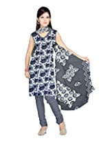 Sonal Trendz Women's Polyester Gray Printed Dress Material