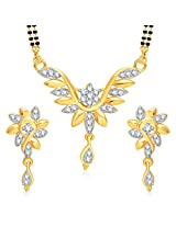 Meenaz Mangalsutra For Women Jewellery Set With Earring Gold Plated Cz In American Diamond MSPT189