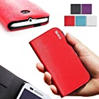 Poetic Motorola Moto E Case [FlipBook Series] - Flip Cover Case for Motorola Moto E (XT1021 / XT1022 / XT1025) Red (3-Year Manufacturer Warranty from Poetic)